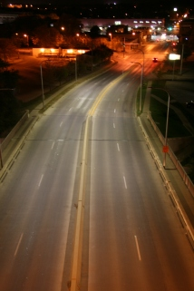 LED Street light bridge shot